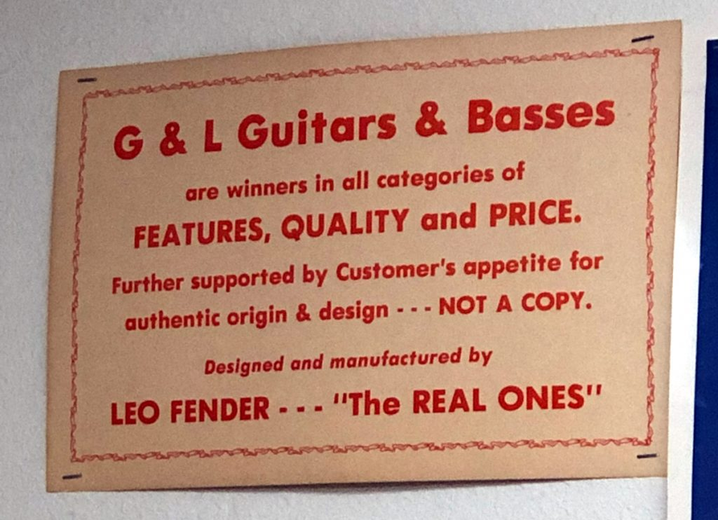 "Schild ""G&L are winners in all categories of features, quality and price"""