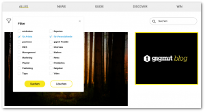 Filter und Rubriken im neuen gigmit blog