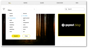 Filters and categories of the new gigmit blog