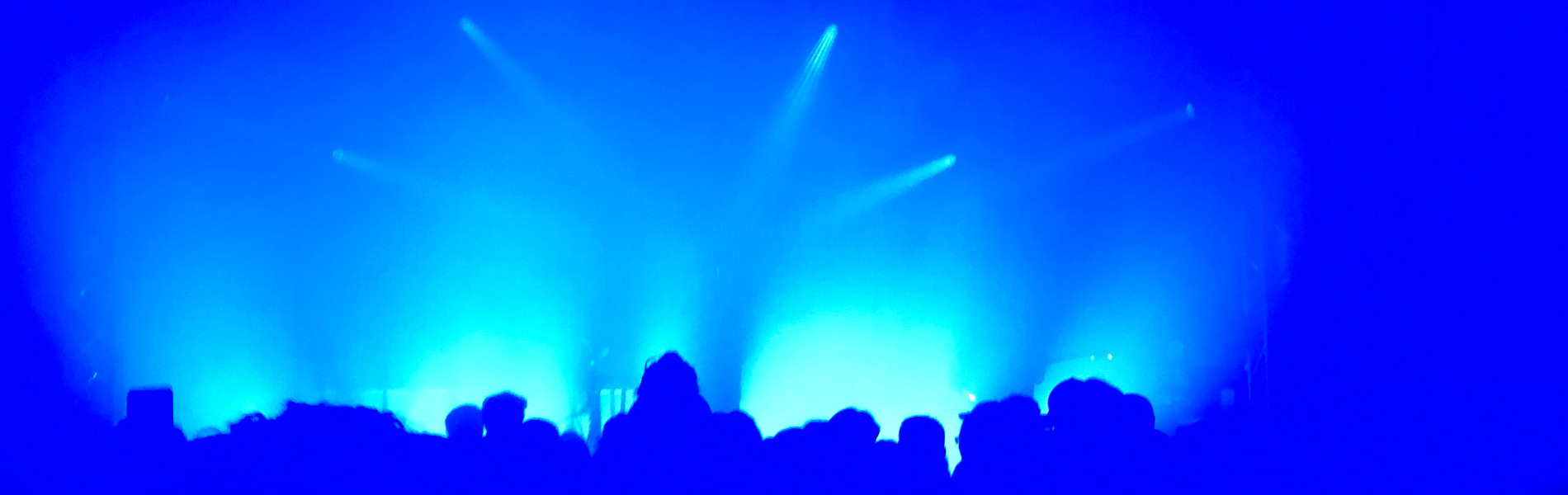 flashing blue lights at a live concert